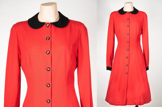 1940s style coat / 70s does 40s / red jacket / bla