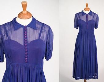 1930s Blue Sheer Silk Chiffon dress and Slip