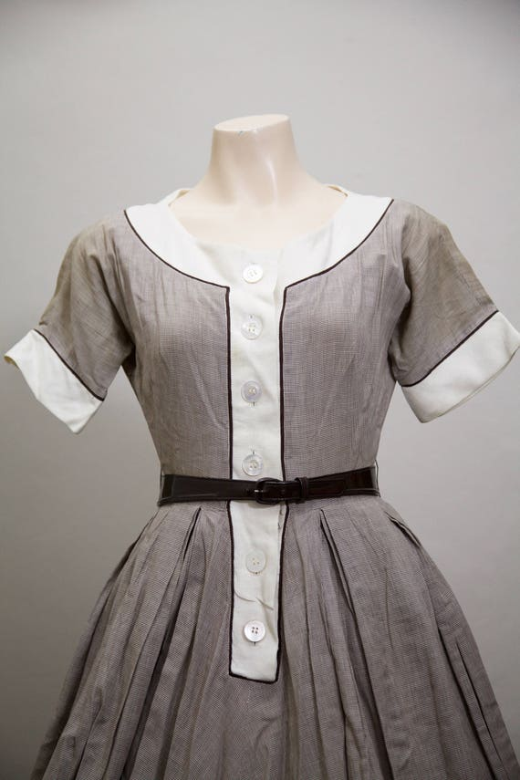 1950s fit and flare brown gingham dress - image 4