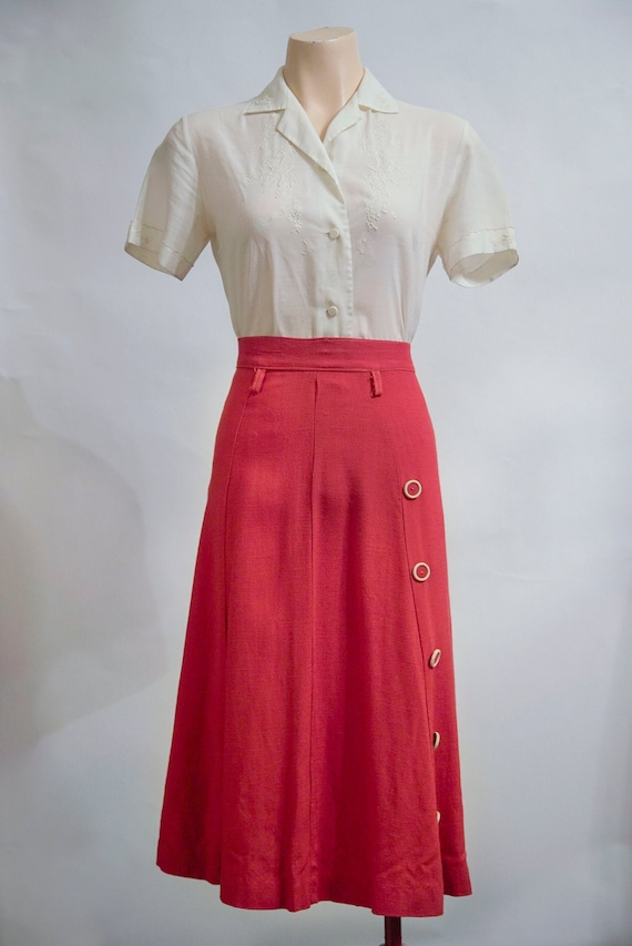 1940s A Line skirt with buttons