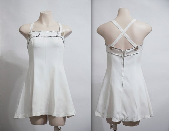 40s Bathing Suit XS / 1940s One Piece Skirted Swim