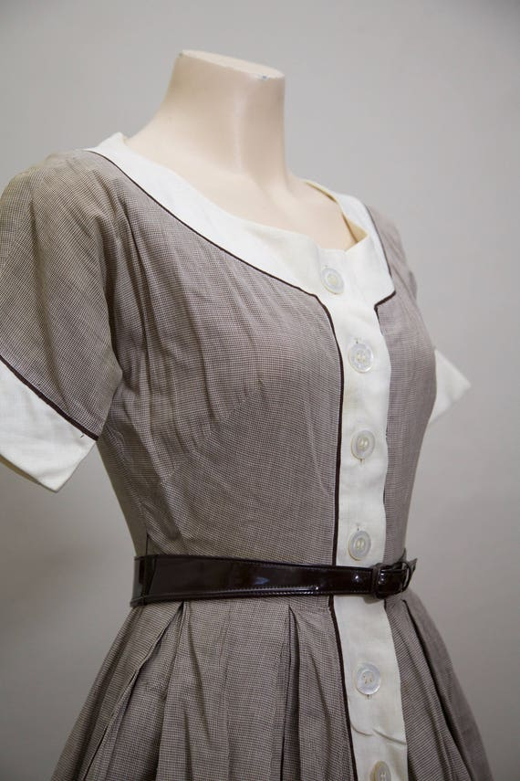 1950s fit and flare brown gingham dress - image 6