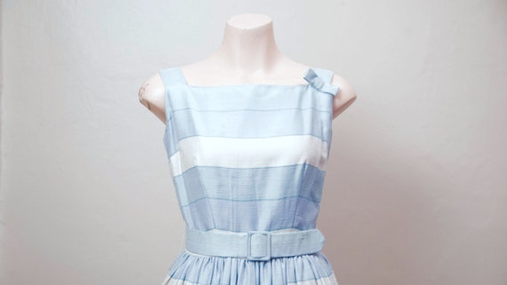 Vintage 1950s Dress / 50s Striped Silk Dress with