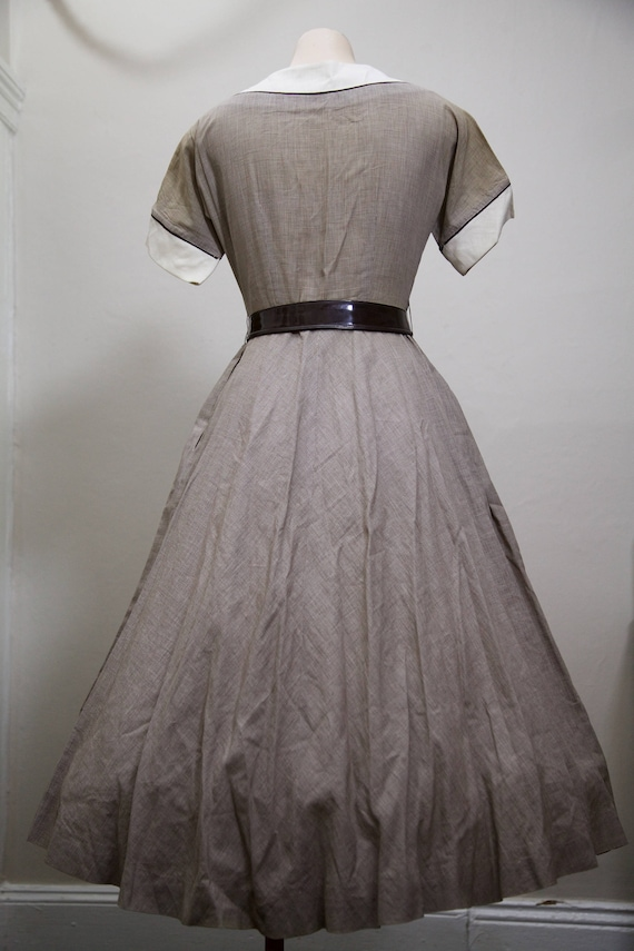 1950s fit and flare brown gingham dress - image 7