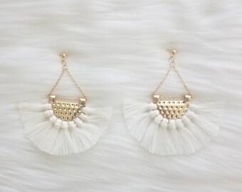 Fan tassel earrings   Tassel earrings   bohemian earrings   white tassel earrings   tassel earrings  