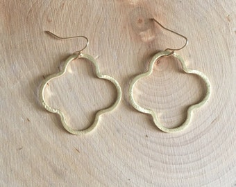 Gold Quatrefoil Earrings | Gold Clover Earrings | Brushed Gold Earrings | Minimalist Earrings | Quatrefoil Earrings | Simple and Dainty