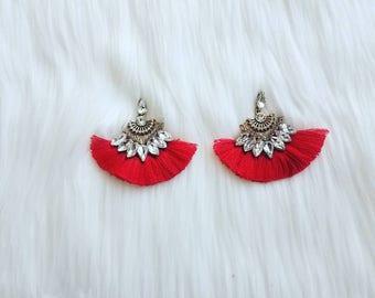 Fan tassel earrings | Tassel earrings | bohemian earrings | colorful tassel earrings | red tassel earrings | green tassel earrings |