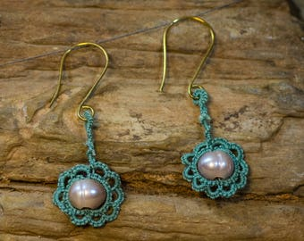 Sage Green Tatted Earrings with Freshwater Pearls