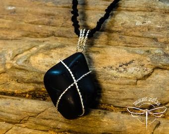 Black Stone Primitive Wire Wrapped Pendant Necklace