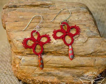 Tatted Lace Dagger Drop Earrings in Red