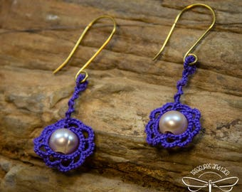 Purple Tatted Lace Earrings with Freshwater Pearls