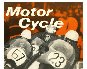 Motor Cycle  Magazine cover reprint 1967 Cafe racer