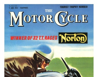 Motor Cycle  Magazine cover reprint 1955 Manx Norton Isle of man TT