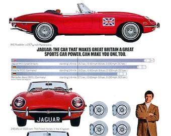 1970 E-Type Jaguar A3 mini poster reproduced from the original advert.