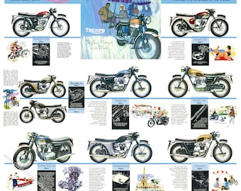 Classic Triumph Motorcycle Poster reproduced from the original 1964 range brochure