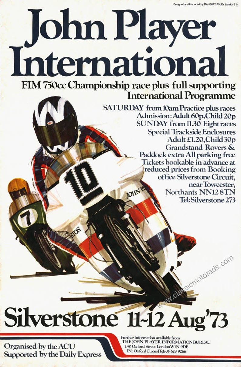 Classic 750cc John Player Norton Poster reproduced from a 1973 image 0