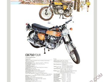 Honda CB750 A3 mini poster reproduced from the original brochure c1975