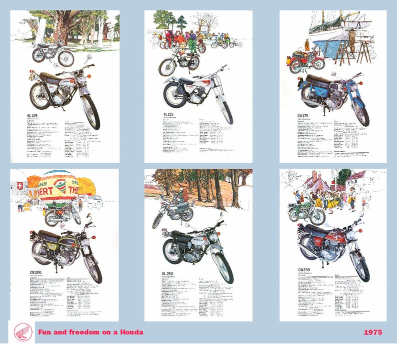 Classic Honda Motorcycle Poster middleweight bikes reproduced image 0