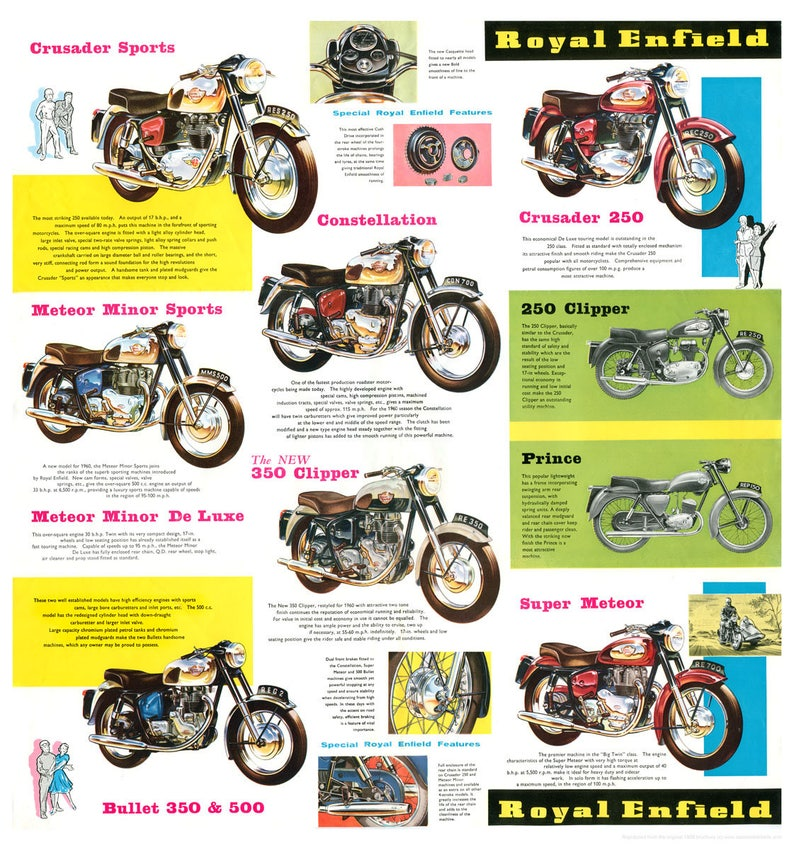 Royal Enfield poster reproduced from the original 1959 range image 0