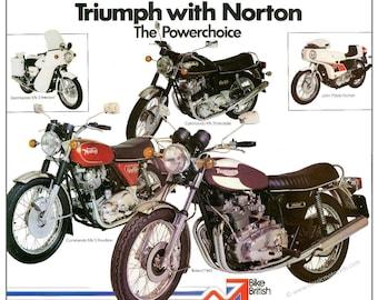 NVT, Triumph Trident & Norton Commando poster reproduced from the 1975 original