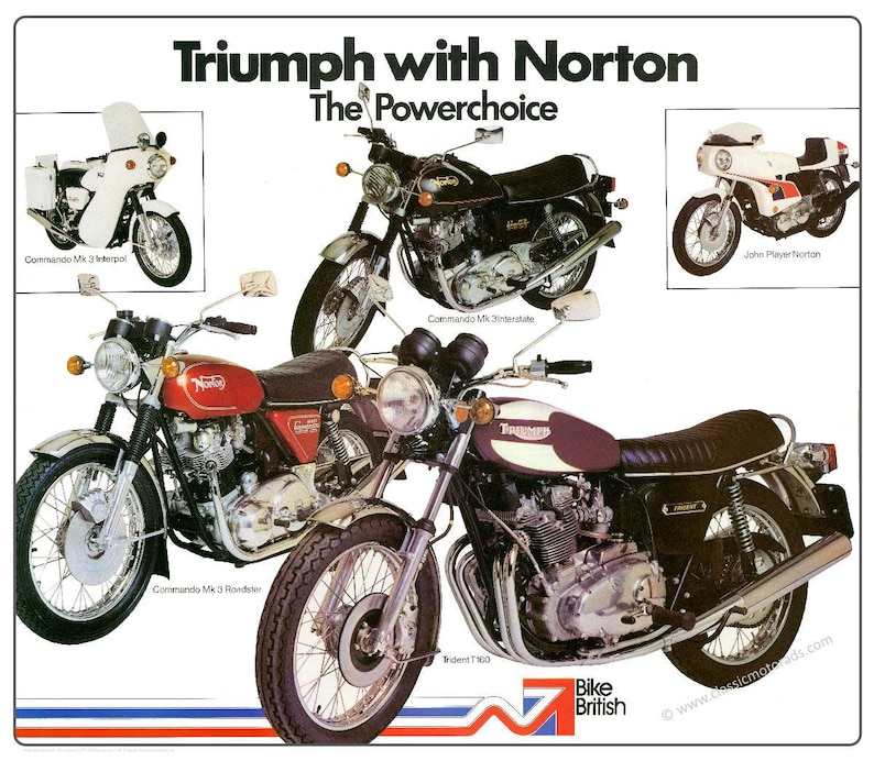 NVT Triumph Trident & Norton Commando poster reproduced from image 0