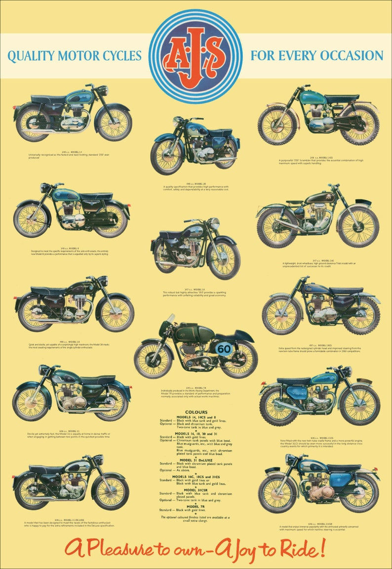 Classic AJS Motorcycle Poster reproduced from the original image 0