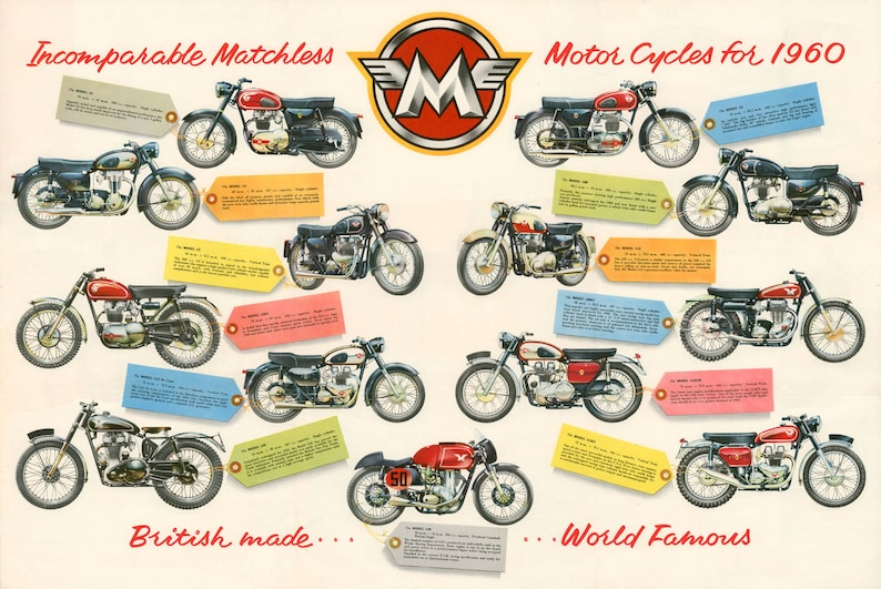 Classic Matchless Motorcycle Poster reproduced from the image 0