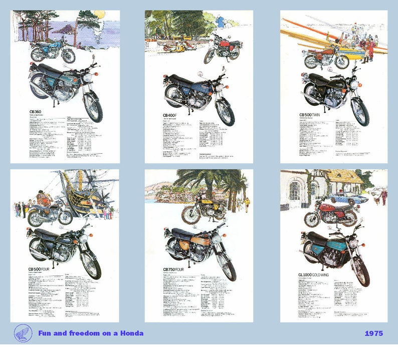 Classic Honda Motorcycle Poster heavyweight bikes reproduced image 0