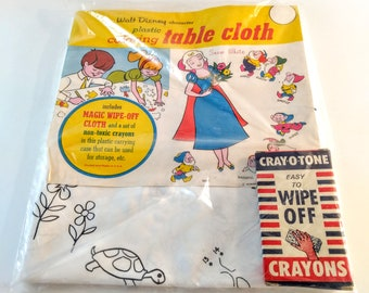Vintage, 1964 Walt Disney Snow White Character Plastic Coloring Tablecloth  With Easy Wipe Off Crayons. NOS. Unused, Original Package.