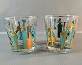 Vtg Cocktail Glasses with Turquoise 22 KT Gold Liquor Bottle Graphics. Set of 2. Anchor Hocking. 1960 39 s Swank, Mad Men Barware.