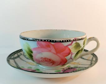 Antique Porcelain Tea Cup and Saucer with Hand Painted Pink Roses, Green Leaves & White Polka Dots. Boho, Cottage Chic Decor. Collectibles.