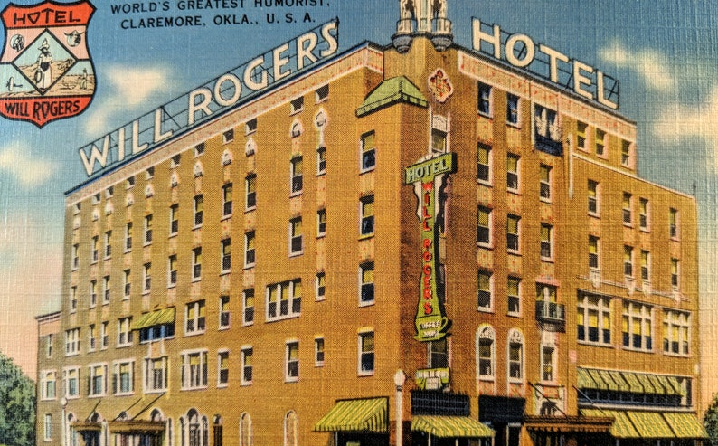 Oklahoma Vintage Will Rogers Hotel Linen Postcard Mid Century Travel Souvenir Advertising 1950/'s Tichnor Quality Views. Claremore