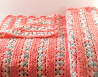 Vintage Hand Crocheted Afghan. Rose Pink, Mint Green & White with Scalloped Edges. Cottage Chic Girl's Room, Nursery Decor. Baby Shower Gift