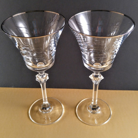 Platinum Trim Drinking Glasses Vintage - Latina-6843