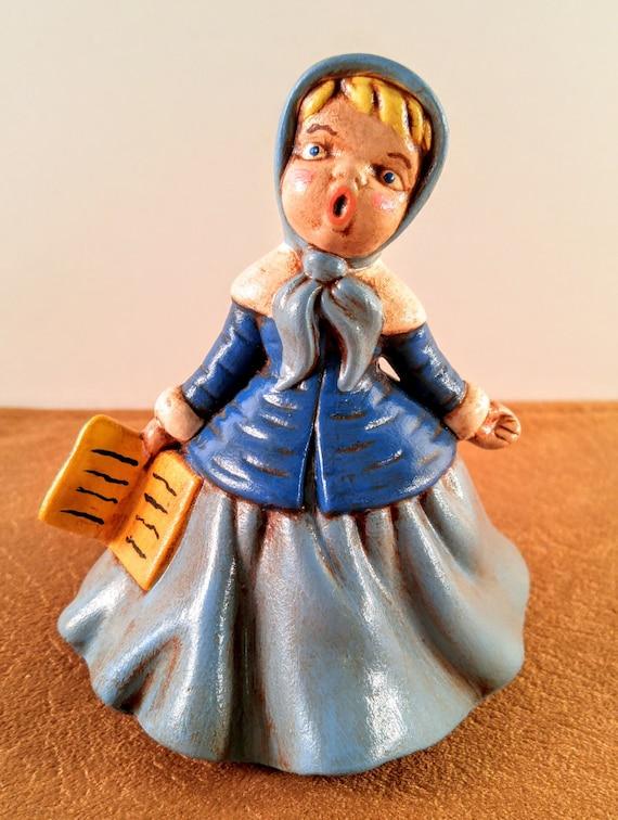 Vintage 1973 Chalk Ware Doll Blue Dress