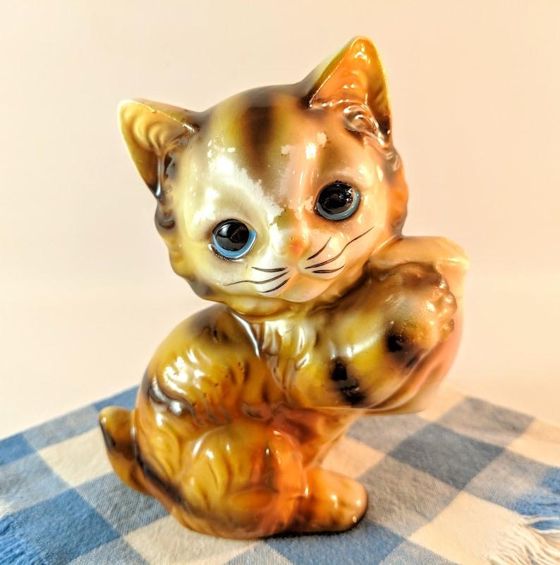 Vintage Orange Striped Kitten with Milk Pitcher Figurine Mid Century Collectible Kitsch Made in Japan Cake Topper.