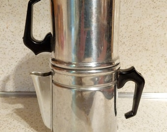 Vintage Flip  Drip Aluminum Stove Top Coffee Maker. Italian Espresso Maker. Mid Century, 1950's Kitchen. Camping Supplies. Made in Italy.