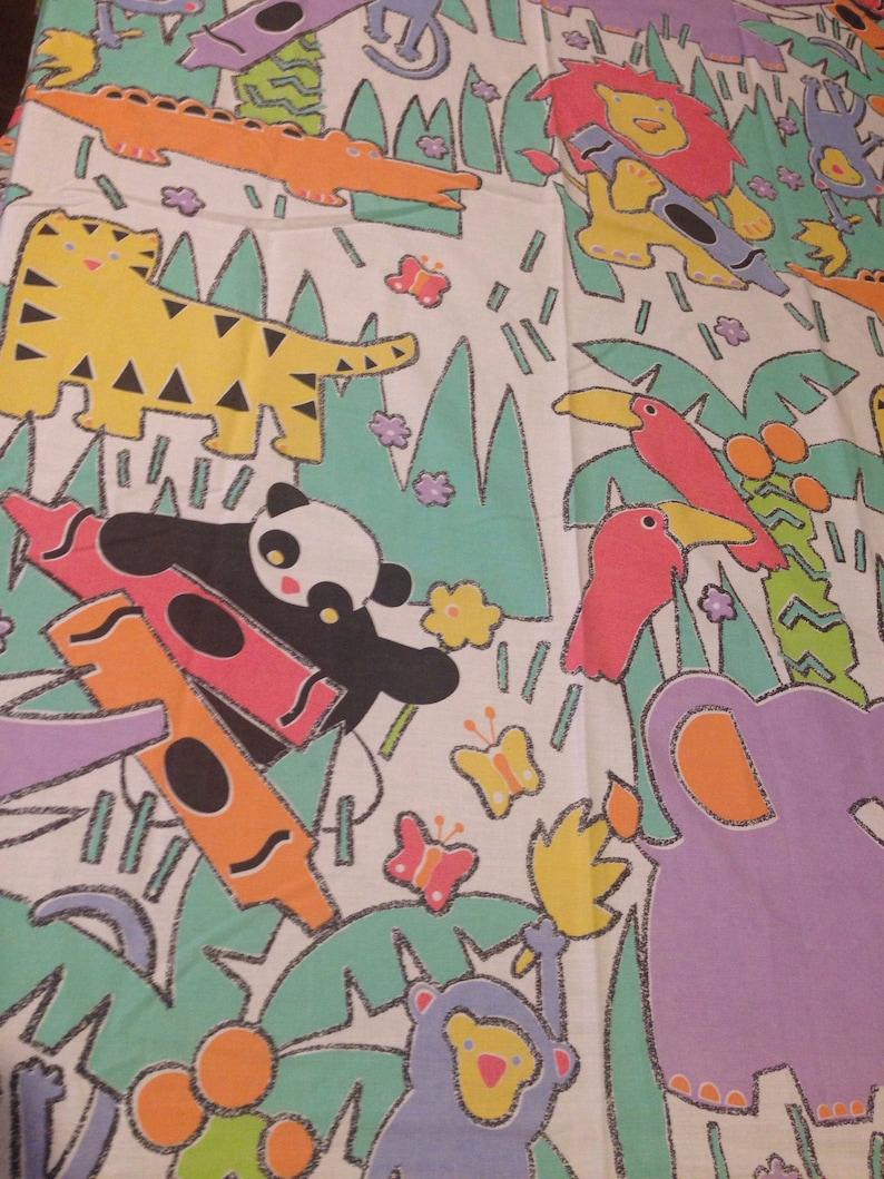 Animals Crayon Fabric Vintage Crayola Kids Favorite Colors Twin Flat Sheet