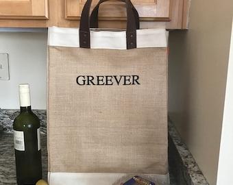 182f8d17d6e4 Custom Market Bag - Jute Grocery Tote - Burlap Tote Bag - Reusable Shopping  Tote - Burlap - Leather Handles - Ecofriendly - New Home
