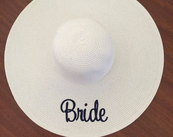 a8c488362aa Bachelorette Sun Hat Embroidered Floppy Hat Bridal Party
