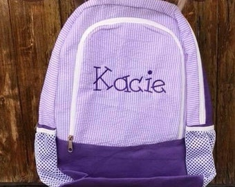 Preschool--Daycare--Travel--Baby Gift Monogrammed Seersucker Backpack Preppy Personalized Toddler Preschool Book Bag