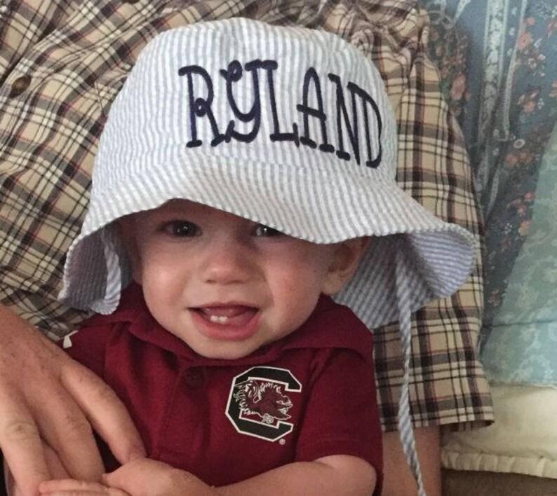 6f9cb7335c49 Baby Boy Sun Hat Personalized Blue Seerucker Baby Hat