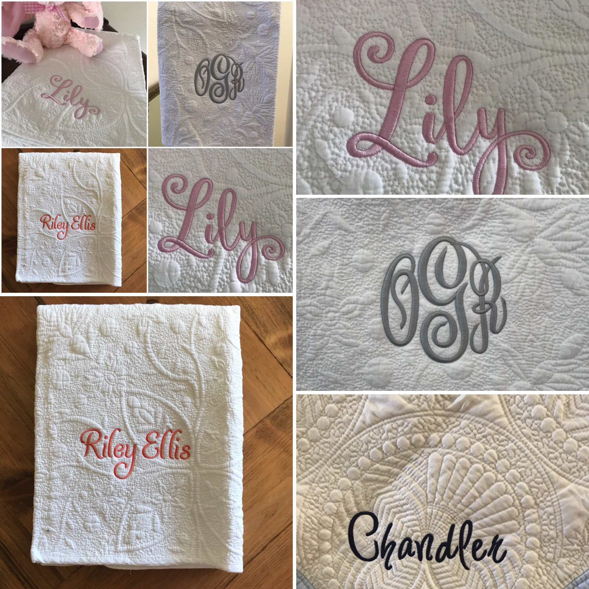 f6d873fe65b72 White Baby Blanket, Monogrammed Heirloom Quilt, Personalized Baby Boy  Baptism Quilt, Baby Girl Christening Gift