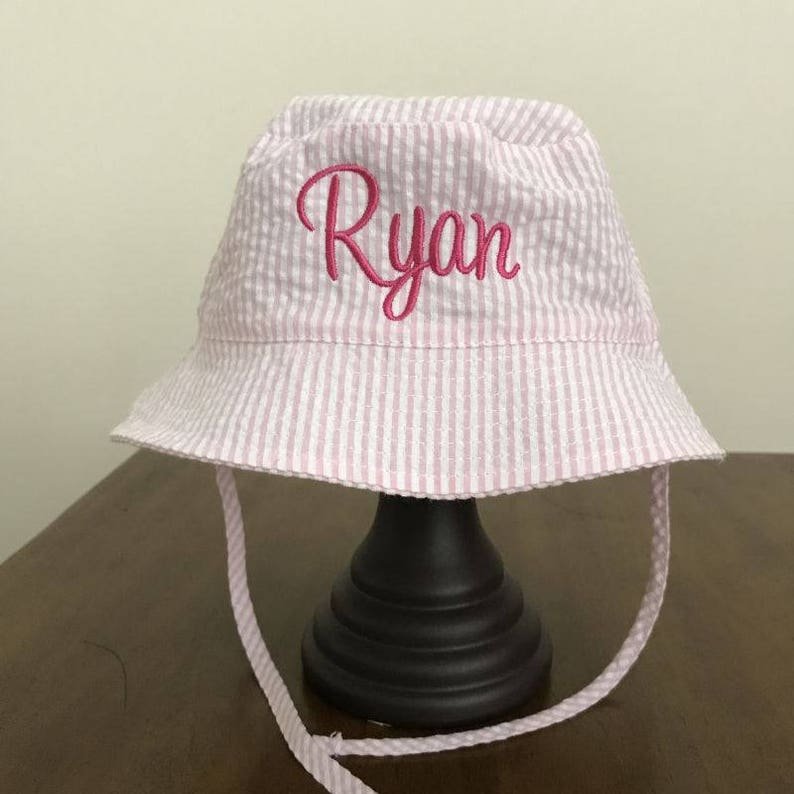 Seersucker Fabric Hats Photo Props Beach Photo Outfit Baby Accessories Monogram Baby Gifts Cute Baby Sun Hat