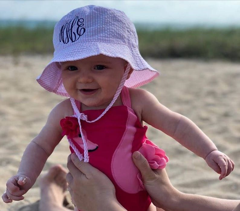 f3a3c1bc9 Cute Baby Sun Hat - Seersucker Outfit - Monogram Baby Gifts - Baby  Accessories - Beach Photo Outfit - Photo Props - Seersucker Fabric Hats