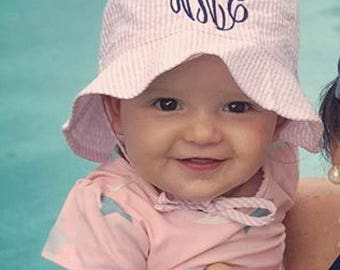 Personalized Baby Sun Hat -  Seersucker Baby Hat - Toddler Sun Hat - Monogram Baby Gifts -  Baby Accessories