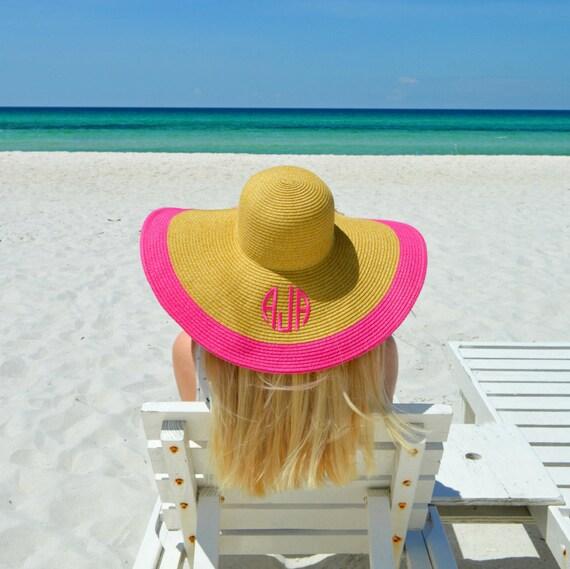 2b94dab0e6c Ladies Personalized Pink Floppy Hat Custom Bachelorette