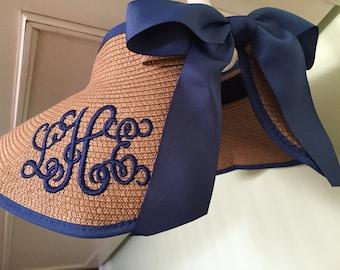 Beach Visor Sun Hat Personalized Straw Floppy Hat Embroidered Summer Hat Summer Hat, Women's Beach Weekend Gifts