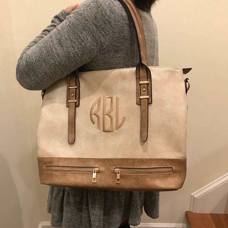 ec2b30001a89 Leather Tote Bag, Personalized Tote with Zipper, Leather Tote, Leather  Shoulder Purse, Women's Leather Bag Monogrammed Purse