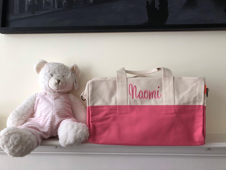 719d8d3d5e42 Monogrammed Duffle Bag, Canvas Carry-On Bag, Girls Personalized Luggage,  Monogrammed Travel Bag, Back to School, Dance Bag Gym Bag